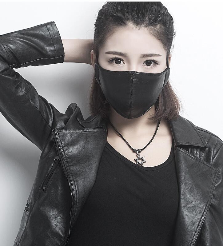 Men Women's Windproof Waterproof Mask Lady's PM 2.5 Breathable Cotton Lining PU Leather Mouth-muffle R782