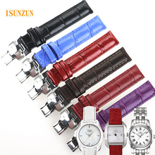 ISUNZUN Women Watchband For Tissot 1853 T02 Watch Band Female Watch Genuine Leather Watch Strap 14mm For Tissot T023 T028 цена и фото