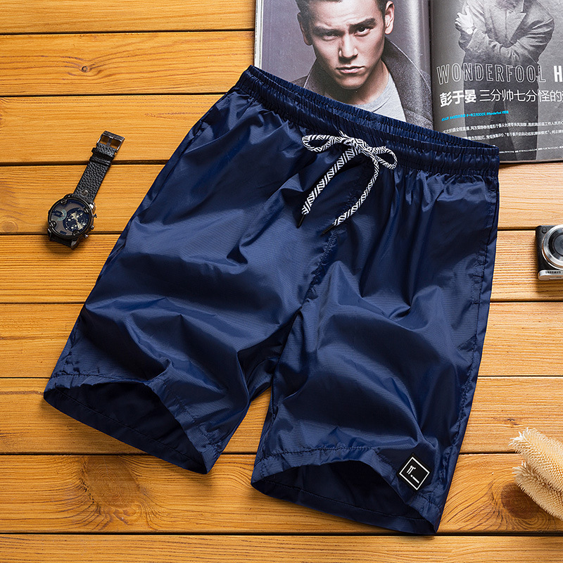 Summer New Handsome Tide Thin Casual Pants Men Sports Shorts Male Personality Slimming Pure Color Knee Length