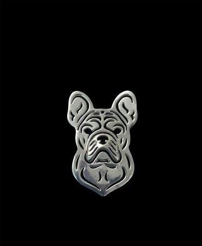 Купить оптовые броши в форме собаки французского бульдога посеребренные