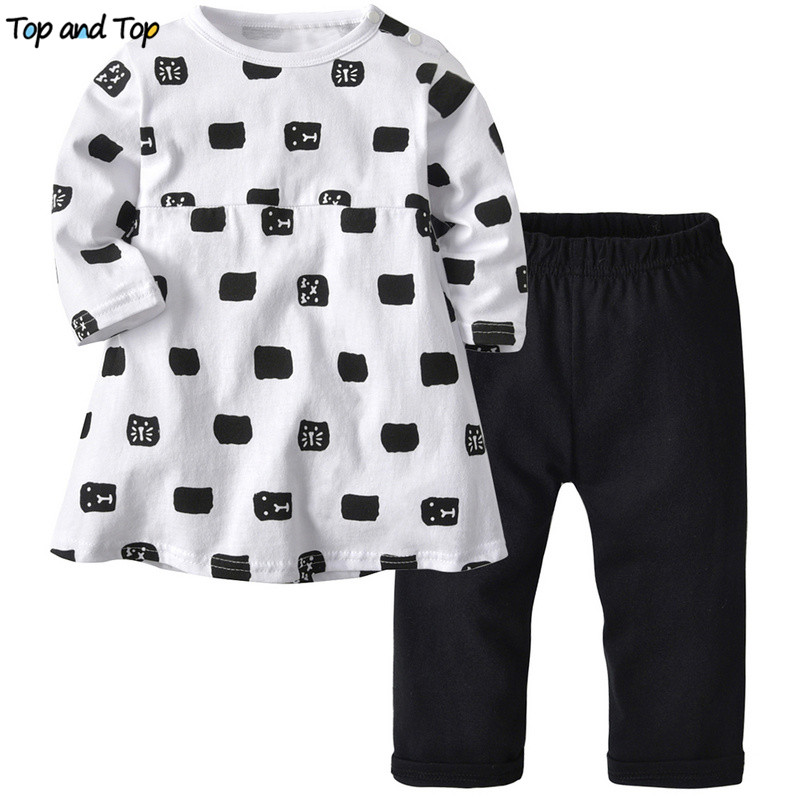 Infant Clothing Baby-Girl Bebes-Suits Long-Sleeved Autumn Cartoon Top And Dress Spring