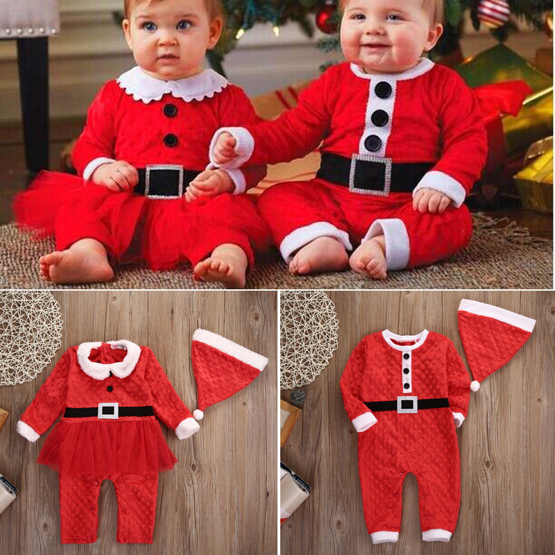 Christmas Party Rompers Newborn Baby Boys Girls Santa Claus Jumpsuit Clothes Casual Warm Outfits Set 2PCS For 0-24M недорго, оригинальная цена