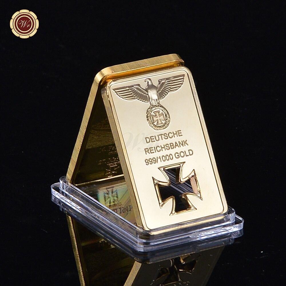 1Oz Gold Plated Deutsche Reichsbank Bar Cross Collection Coin As Souvenir Gift