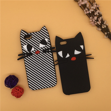 New 3D Cartoon Halloween Christmas Gift Black Shadow Stripe Beard Cat Case Silicone Cover For iPhone SE 5 5S 5C 6 6S 7 7S & Plus
