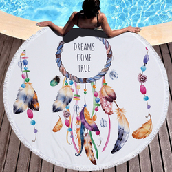 150x150 cm Round Towel Microfiber Fringed Beach Towels Beach Outdoor Sports Swimming Bath Towel Portable Dream Catcher Style
