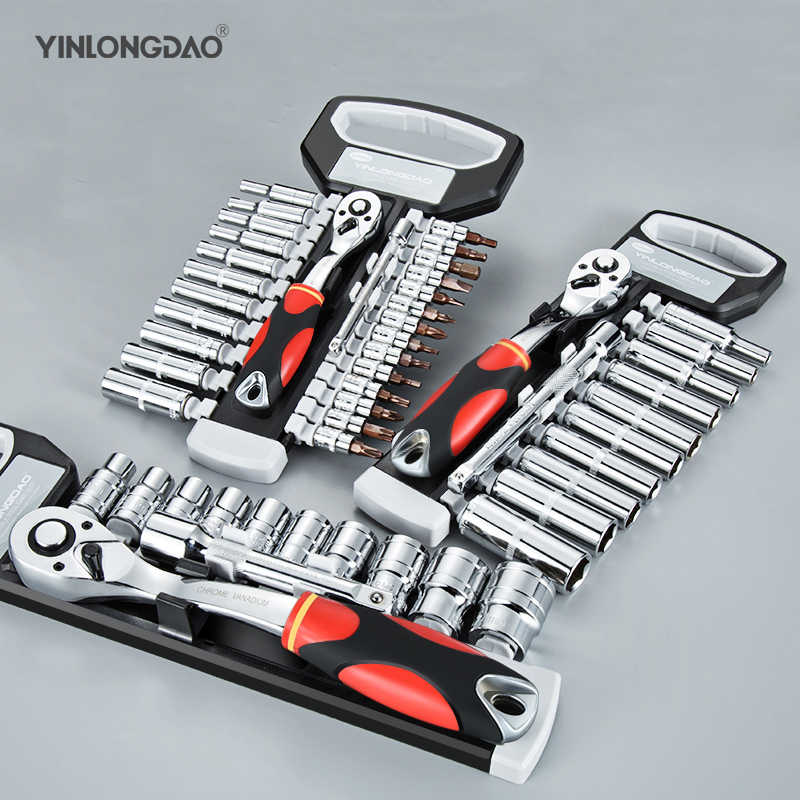 "1/4"" 3/8"" 1/2""Car Repair Tool Set Ratchet Wrench Set Chrome Steel Manual Sleeve + Release Handle Multi-function Universal"