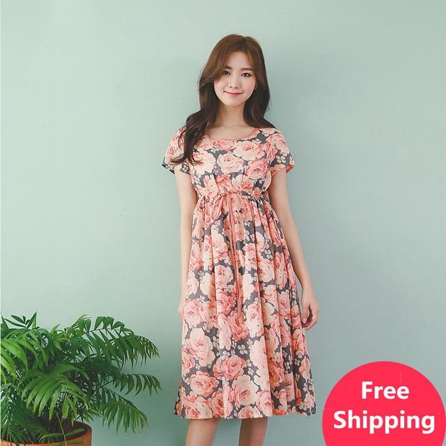 Bohemian Cotton Maternity Summer Dress Tunic For Pregnant Women Embarazba Elegant Maternity   Clothes Pregnant Clothing 702054