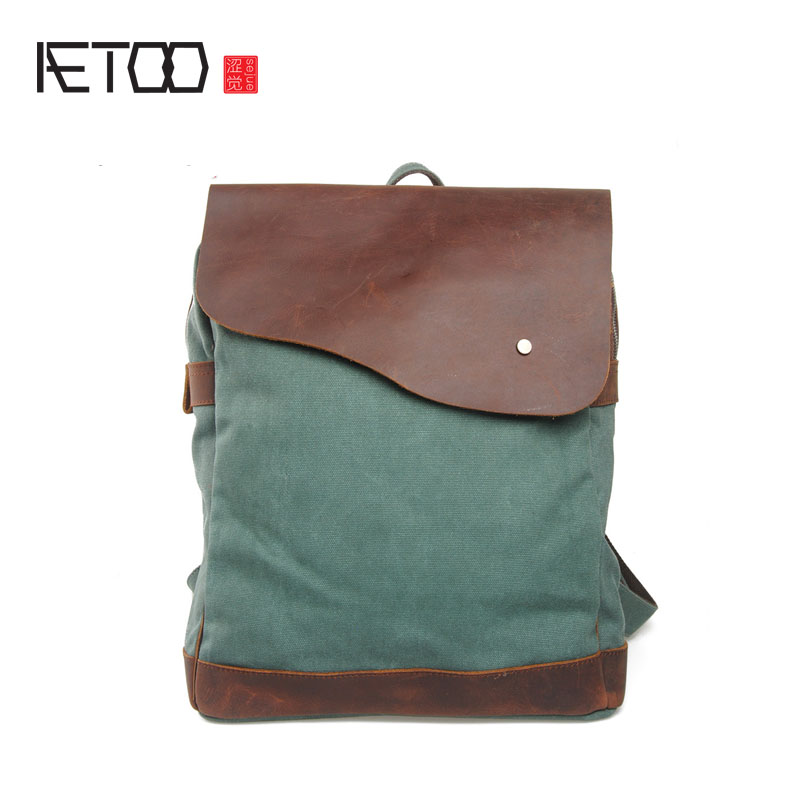 AETOO New canvas with crazy horse shoulder shoulders University wind backpack travel bag casual tide package