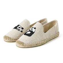 2018 New Arrival Blue Flamingo Embroider Comfortable Ladies Womens Casual Espadrilles Shoes Breathable Flax Hemp Canvas