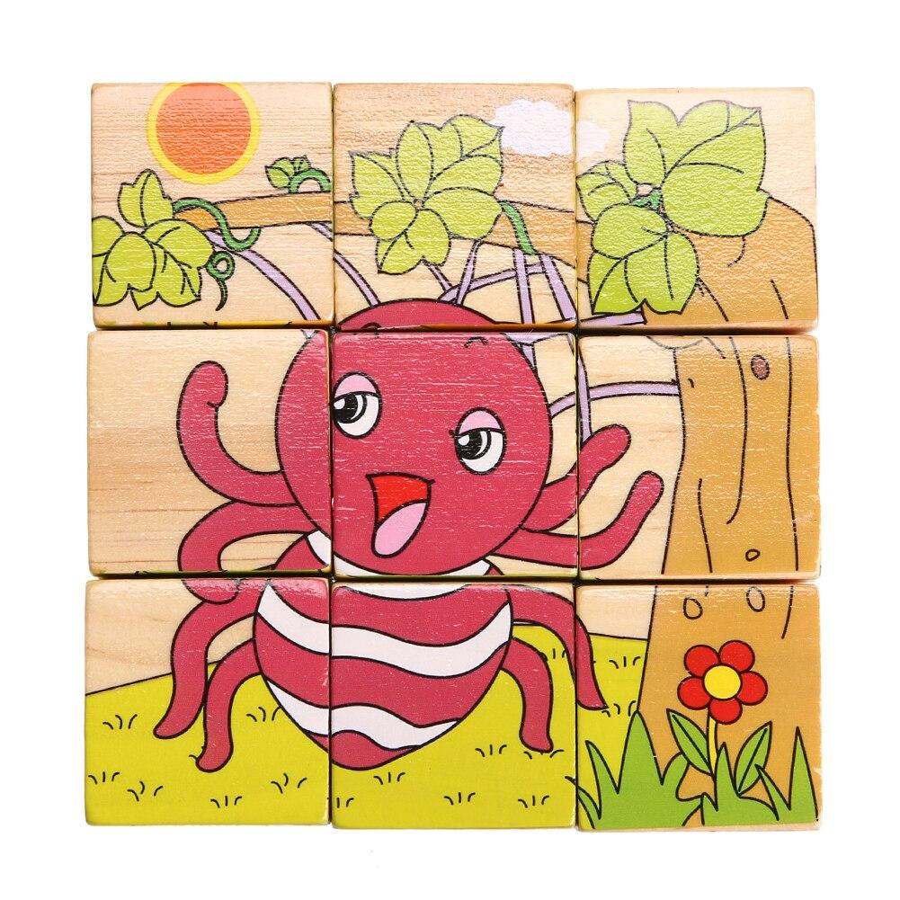 d3ff0883ee514 ستة الجانبين خشبية بازل قطع الاطفال الأطفال التعلم لغز لعب الكرتون التنموية  Tangram لعبة هدايا (الحشرات العالم)
