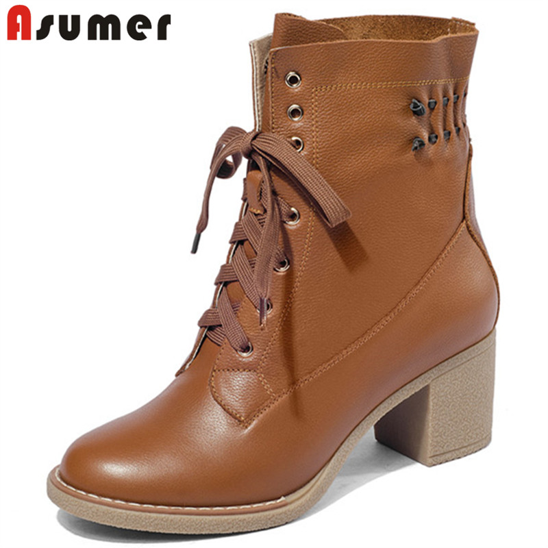 ASUMER black fashion lace up ladies boots round toe genuine leather boots thick high heels ankle boots for women 2018 new elle elle el20053p04n