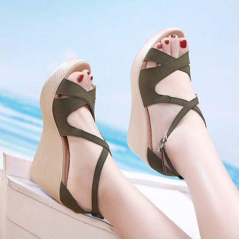 faux suede platform sandals