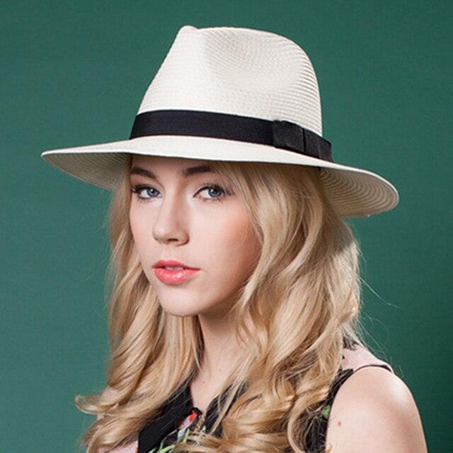 ff3cc54b4 Sombrero de Sol de paja de verano para mujer elegante Sombrero de Panamá de  ala ancha