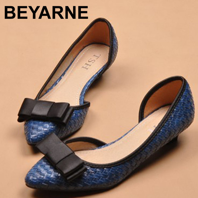 Free shippingknitting printing Low heels shoes cortex pointed sweet bow OL code women's shoes black beige