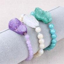 Agates Natural Stone druzy Round Beads Bracelet Jewelary Agat Crystal Bracelets