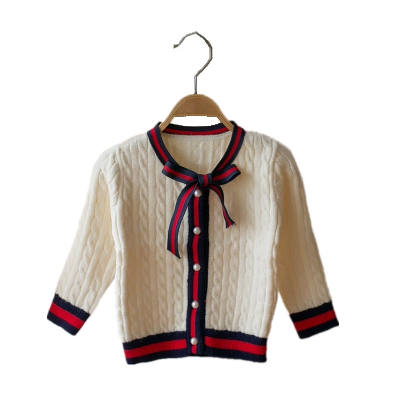 2018 Baby Girl Clothes Winter Hemp Flowers Pattern Sweater Long Sleeve Cardigan Girls Bow Jumper Knitted Patchwork Jersey Sueter цена 2017