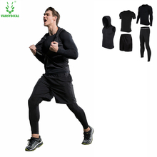 4pcs Men Fitness Sport suit long sleeve fast dry basketball jerseys tights survetement football 2018 real gym running clothes
