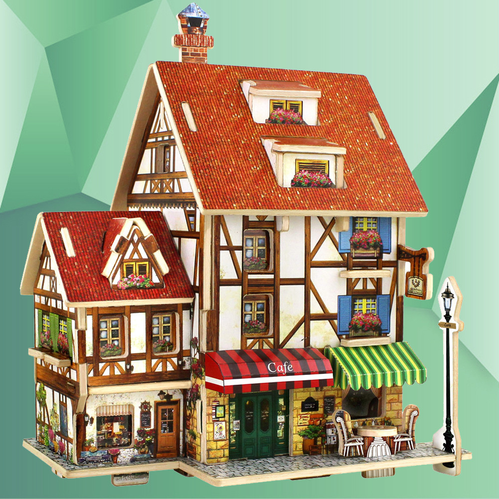 3D Wood Puzzle Plywood DIY Model Kids Toy France French Style Coffee House 3D Building Puzzles