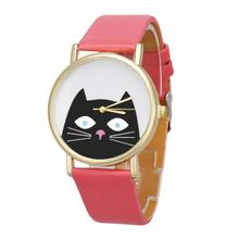 2017 1pcs New Hot Top Sale Cat font b Women b font Men Leather Band Analog