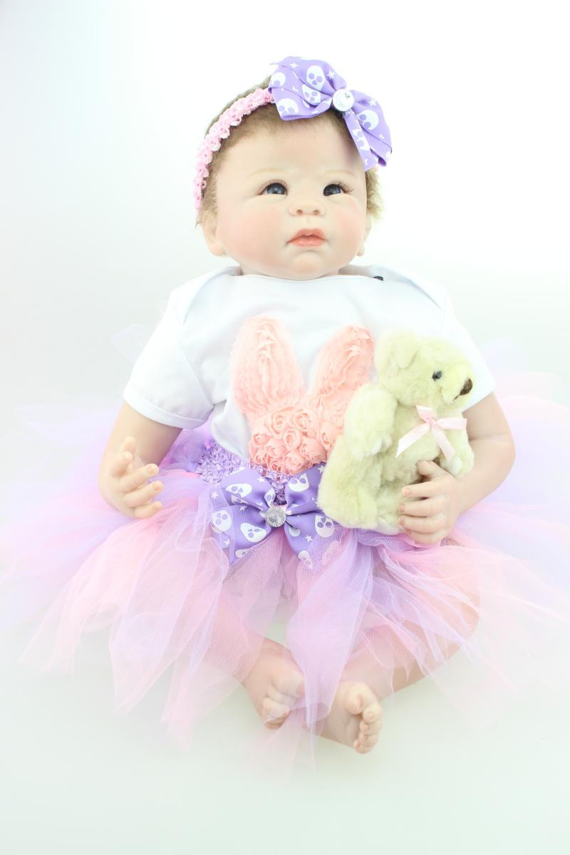 20 Lifelike Baby Reborn Doll with Clothes,Vivid Newborn Doll Silicone Reborn Doll Christmas Gift pink wool coat doll clothes with belt for 18 american girl doll