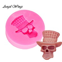 DIY Cake Tools skull silicone mold Decorating Cupcake Gumpaste fondant tool Fimo Clay Candy Moulds DY0031(China)