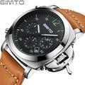 Gimto reloj del deporte de los hombres masculinos de cuero marca de lujo ejército cronógrafo reloj de los hombres reloj de cuarzo resistente al agua reloj hombre montre