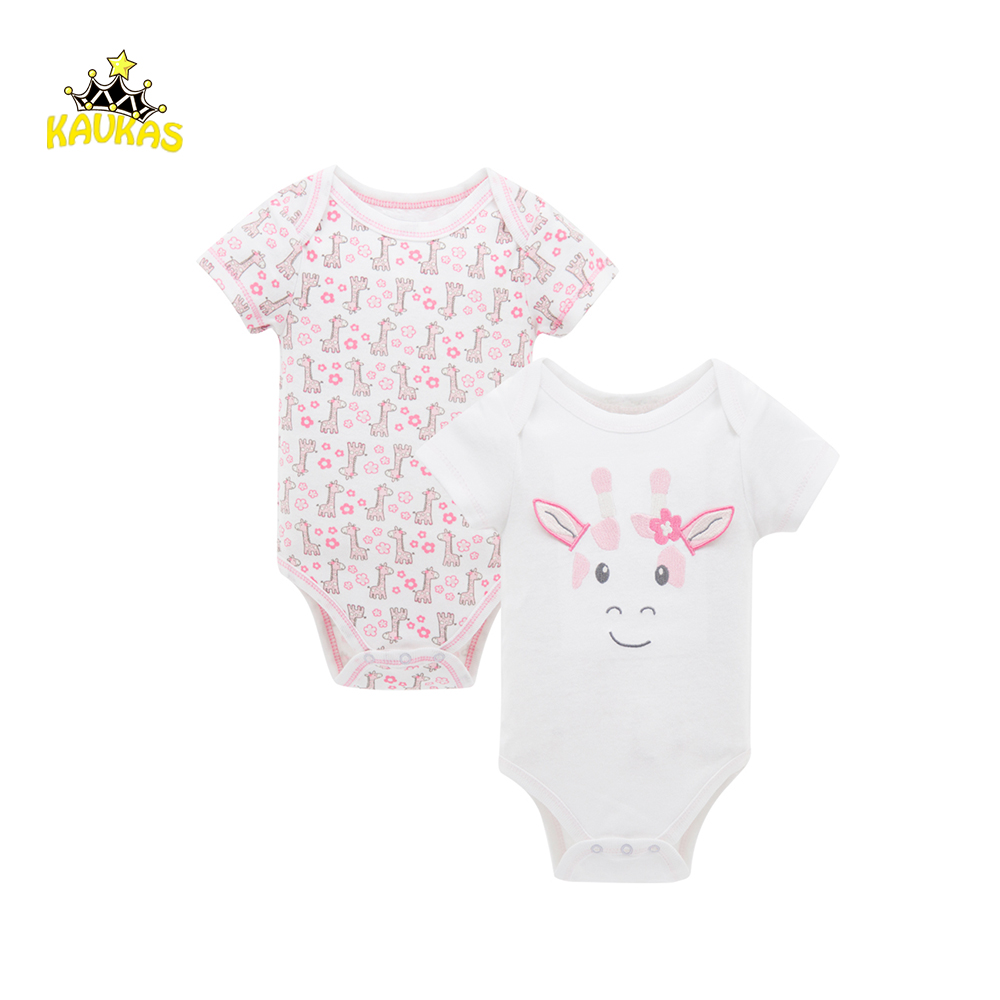 KAVKAS Newborn Baby Clothes Cartoon Animals Print Jumpsuit Girls Cotton Short Sleeve Summer Clothing Baby Body Suits Rompers