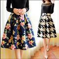 Nova Moda Outono Mulheres Saias Plissadas 2016 Da Flor Do Vintage Impresso Vestido De Baile De Cintura Alta Flared Saias Na Altura Do Joelho
