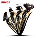 POVOS Maravilloso Portátil kit de Cuidado Personal para Hombres Con Cara Brushe Nose Hair Trimmer máquina de Afeitar Eléctrica de Carga USB del sistema