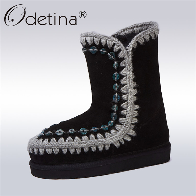 Odetina 2017 New Fashion Women Genuine Leather Snow Boots Button Natural Fur Warm Wool Winter Boots Slip on Shoes Big Size 32-43 new fashion lady warm winter wool zipper tube snow boots for women knight boots brown size 34 43 women boots shoes new