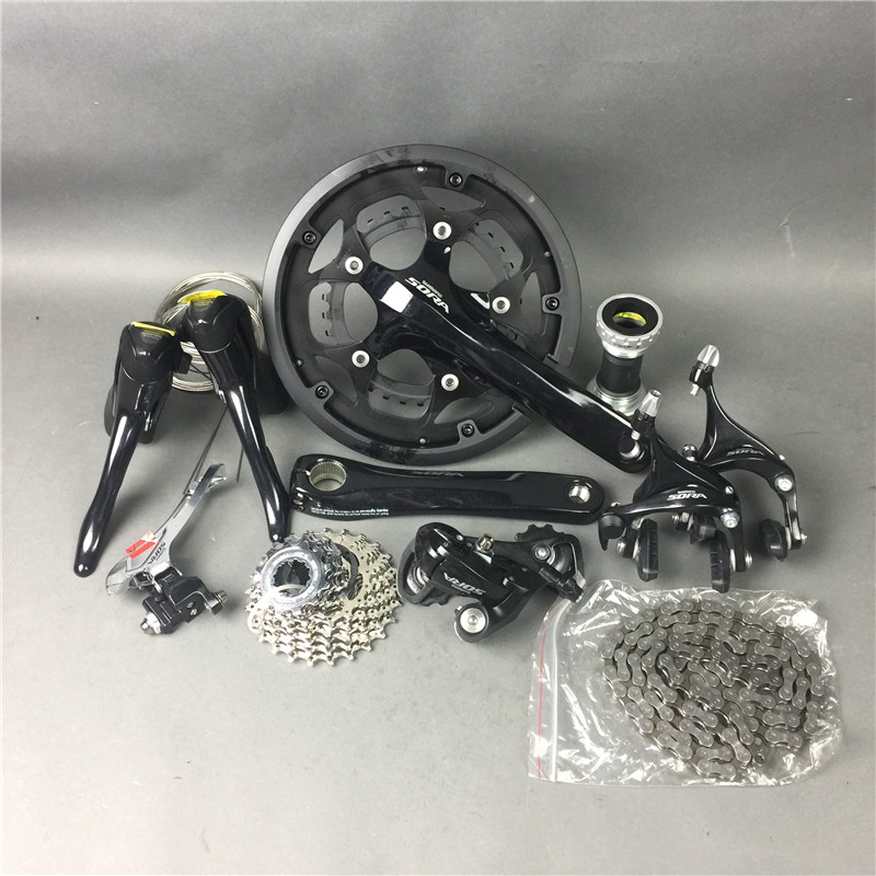 ! In Stock!Shimano sora 3500 groupets road bike groupset black bicycle group set170 50-34 12-25, 2*9 speed