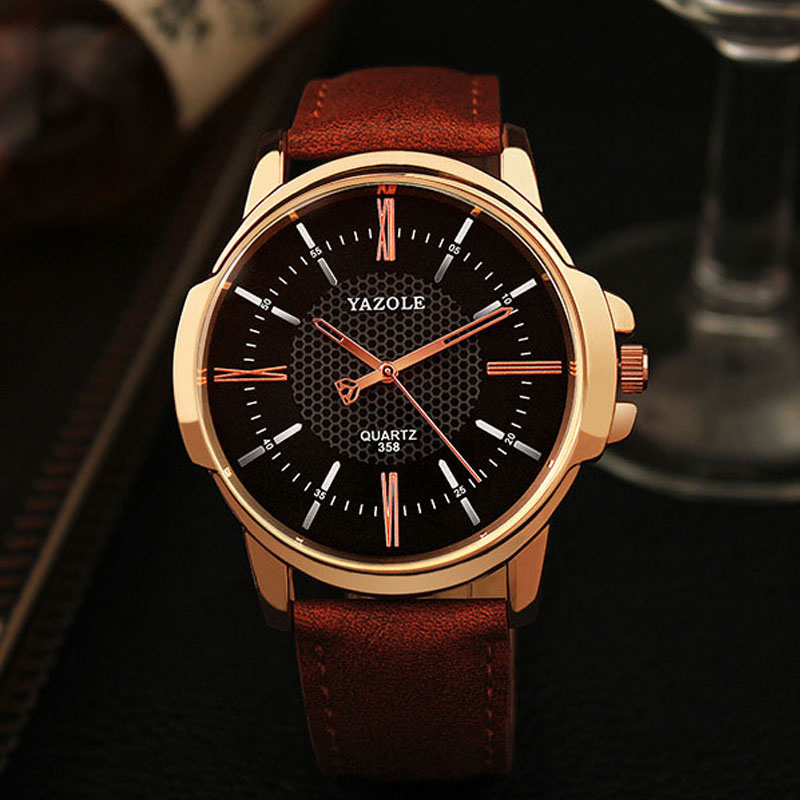 YAZOLE Brand Luxury Famous men watches Fashion leisure Dress Quartz Watch Business leather watch Male Clock Relogio Masculino