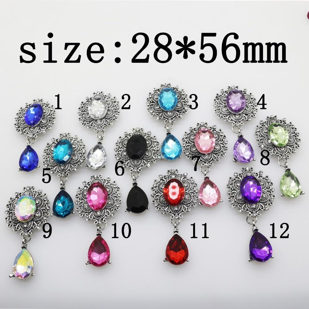 YWXINXI Fashion New Hot 1Pcs/Lot Flatback Brooches 28*56mm Alloy Accessories Diy jewelry Rhinestones Decoration 11Color 2