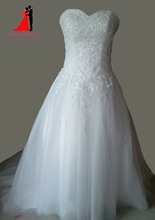 Sweetheart Ball Gown Wedding Dresses  Vestido De Noiva Tulle With Lace Appliques Plus Size Bridal Gown Bow Robe de mariee
