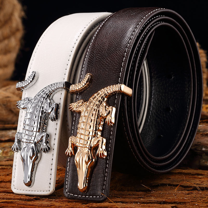 Dragon Logo Automatic Buckle Men Belt  Blue Genuine Leather Strap Waistband 724B