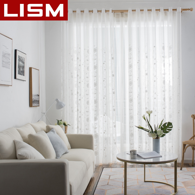 White Linen Voile Curtains Embroidered Sheer Window Curtains Tulle for Bedroom Living Room Kitchen Voile Curtains for Window in Curtains from Home Garden