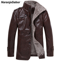 NaranjaSabor Winter 8XL Men's Leather Jackets Casual Coats Male Fleece Thermal PU Leather Windbreakers Mens Brand Clothing N404