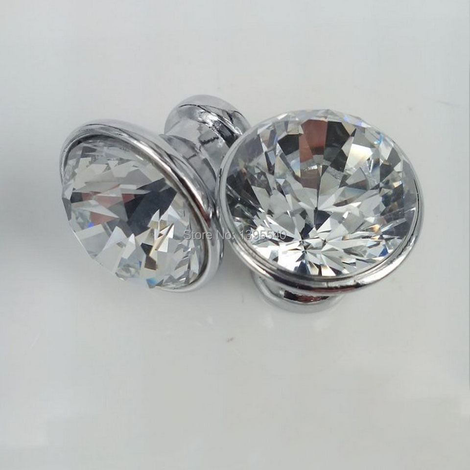 New 10pcs 20mm K9 Crystal Cabinet Knobs Jewelry Box Drawer