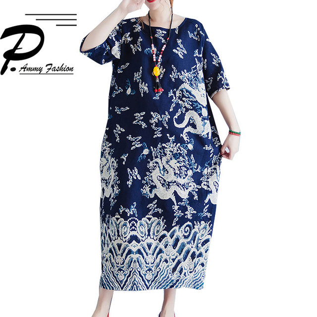 Vintage Dragon Printed Plus Size Short Sleeve Maxi Long Dresses Vestidos  Chinese Style Loose Cotton Linen Robe Gown Baggy Dress b14430516867