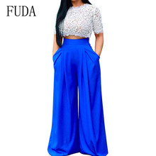 FUDA Rompers Women Summer Two Pieces Sets Lace Crop Top and Wide Leg Pants Ladies Casual High Elastich Loose Trousers