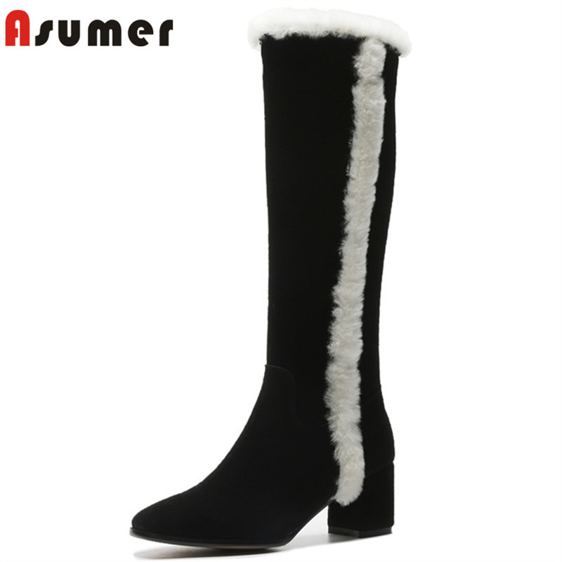 ASUMER 2019 hot sale new knee high boots women square toe suede leather boots high heels shoes woman autumn winter boots women enmayla autumn winter chelsea ankle boots for women faux suede square toe high heels shoes woman chunky heels boots khaki black
