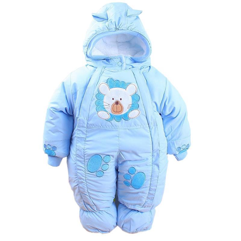 Baby Winter Romper Cotton Padded Thick Newborn Baby Girl Warm Hooded Jumpsuit Animal Overall Baby Rompers Baby Girls clothing