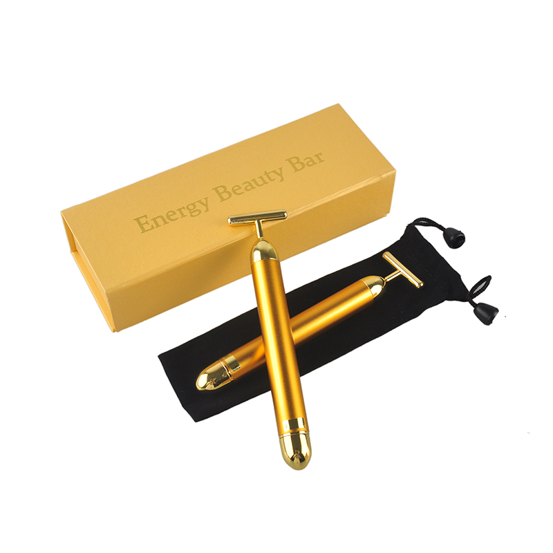 Slimming Face 24k Gold Vibration Facial Beauty Bar Pulse Firming Facial Roller Massager Lift Skin Tightening Wrinkle Stick