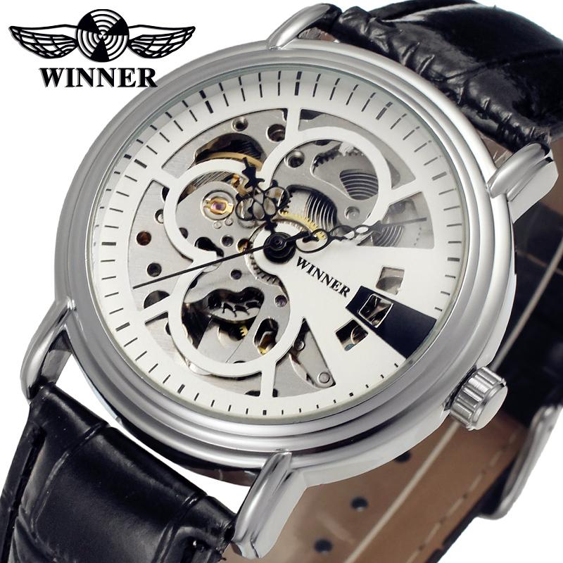 Fashion WINNER Men Luxury Brand Silver Casual Skeleton Leather Watch Automatic Mechanical Wristwatches Gift Box Relogio Releges fashion winner men luxury brand date leather band casual watch automatic mechanical wristwatches gift box relogio releges 2016
