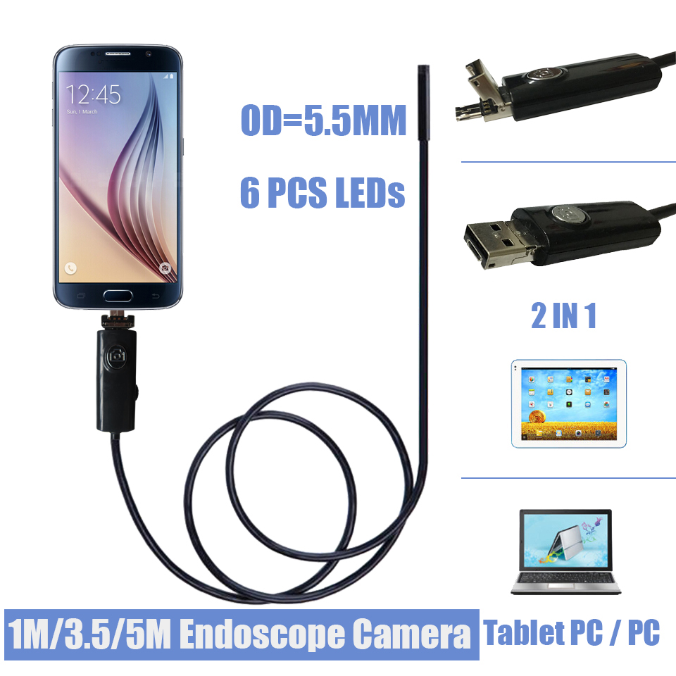 5.5MM 6LED Android Smartphone USB Endoscope Camera IP67 Waterproof Inspection Borescope Tube Camera With 5M Flexible Rigid Cable image