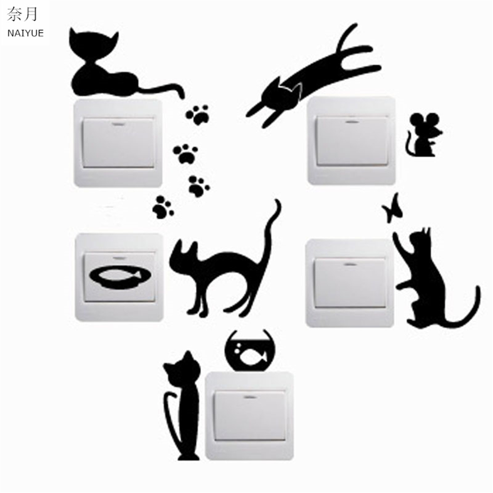 NAIYUE 1 Set of 5pcs Removable Cute Lovely Black Cat Switch Wall Sticker Vinyl Decal Home Decor Decal
