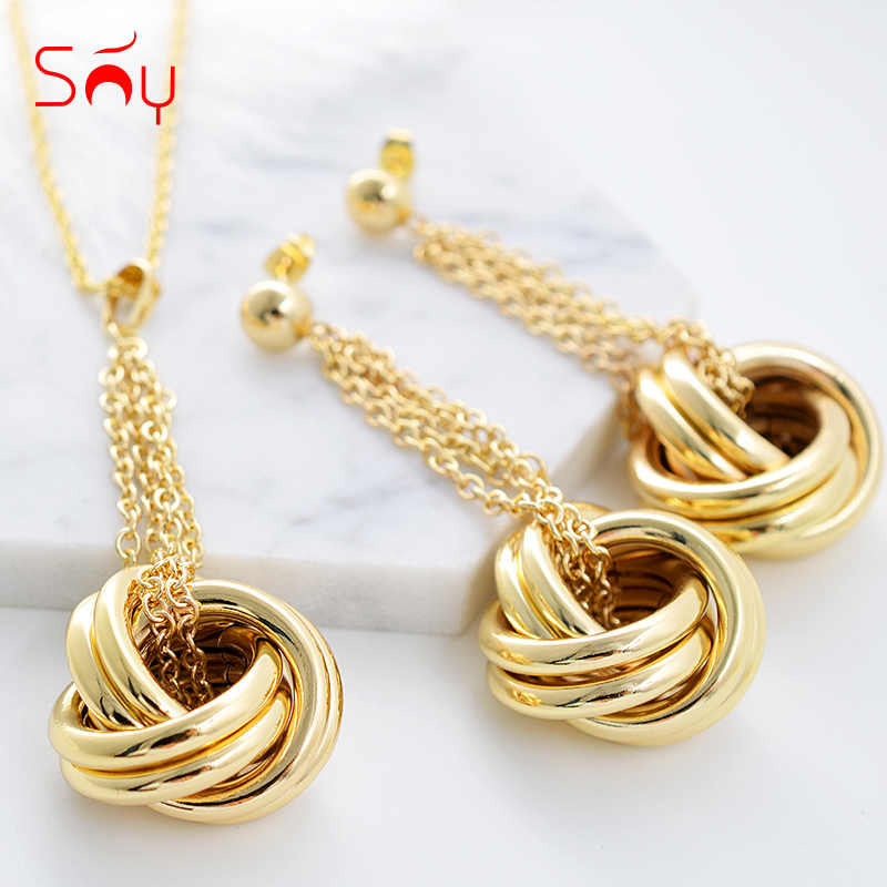 Sunny Jewelry Fashion Jewelry 2019 Jewelry Sets For Women Necklace Earrings Pendant Twisted Circles For Party Daily Anniversary
