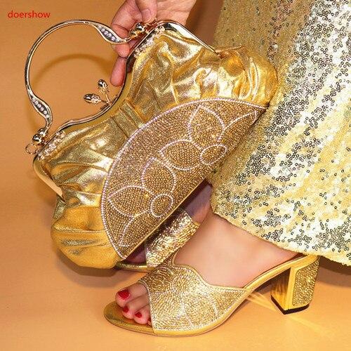 Doershow итальянская обувь и сумочка в комплекте вечерние женские ботильоны из искусственной кожи PU, на высоком каблуке с сумочкой для свадьбы ...