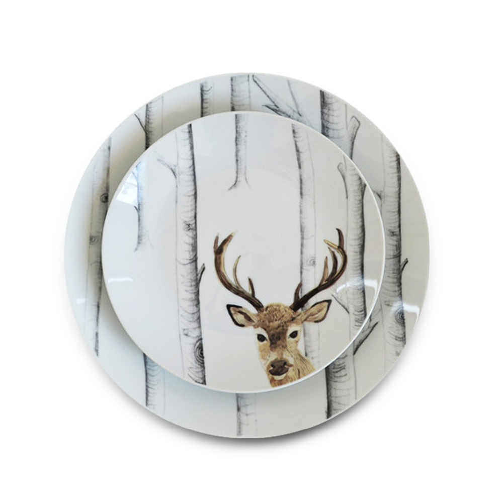 1 pc HOMESTIA Handpainted Forest Deer Ceramic Plate Dinner Dish Salad Plate Steak Dish Home Decor Dish Kitchen Tools Gifts-in Dishes u0026 Plates from Home ...  sc 1 st  AliExpress.com & 1 pc HOMESTIA Handpainted Forest Deer Ceramic Plate Dinner Dish ...