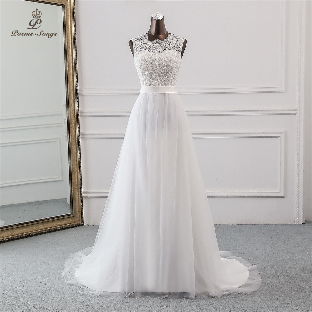 Poemssongs 2019 New applique white   Evening     dress   robe de soiree vestidos de festa Beach tulle long prom   dresses   robe longue